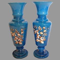 """Bohemian Czech Pair Blue Art Glass Vases 12"""" Cased White Enameled Leaves Flowers c 1900"""
