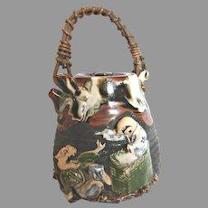 Japanese Sumida Teapot Figural Animals Anthropomorphic Monkey Bird Earthenware Signed c 1895