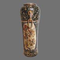"Chinese Vase 12"" Black Gold Hand Painted Flowers Elephant Handles c 1800s"