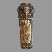 "Chinese Vase 12"" Black Gold Hand Painted Flowers Elephant Handles c 1800s"