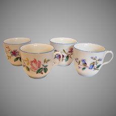 French Haviland Limoges 4 Cups Botanical Multi-Floral Blue Trim c 1876 - 1880