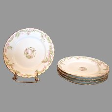 """French Haviland Limoges Set 5 Lunch or Dinner Plates 8.5"""" Pink Flowers Green Gold c 1894 – 1930"""