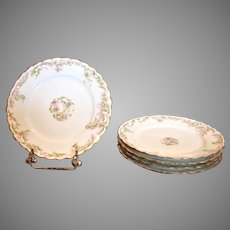 "French Haviland Limoges Set 5 Lunch or Dinner Plates 8.5"" Pink Flowers Green Gold c 1894 – 1930"