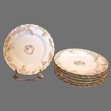 """French Haviland Limoges Set 7 Breakfast or Lunch Plates 7.5"""" Pink Flowers Green Gold c 1894 – 1930"""