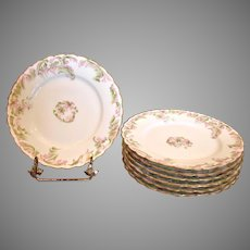 "French Haviland Limoges Set 7 Breakfast or Lunch Plates 7.5"" Pink Flowers Green Gold c 1894 – 1930"
