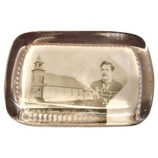 American Wilfred Smith Co Glass Paperweight of Port Angeles Church & Rev Frame c 1900