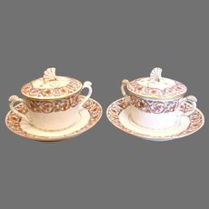 French Limoges Two Covered Bouillon Cups Saucers Shell Finals Handles c 1892 - 1907