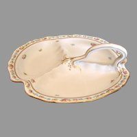 "French Limoges 11"" Divided Serving Dish Tray Platter Arching Handle Tiny Pink Roses c 1894 - 1930"