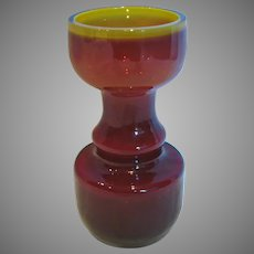 Bohemian Czech Small 5.75 Art Glass Vase Ruby Red w Yellow-Green Interior c 1900