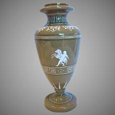 Bohemian Czech Harrach Gray-Brown Opaque Art Glass Vase w Revival Painted Cameo Horse Putti c 1876