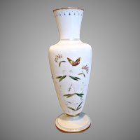 "Bohemian Czech Harrach 12.5"" Vase White Opaline Art Glass Enameled Butterfly Flowers c 1880"