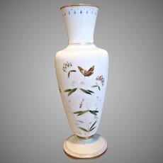 """Bohemian Czech Harrach 12.5"""" Vase White Opaline Art Glass Enameled Butterfly Flowers c 1880"""