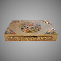 Chinese Brass Case Box Enameled Raised Designs c 1900