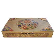 Chinese Brass Case Box Enameled Raised Designs c 1900
