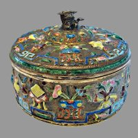 Chinese Brass Round Box Enameled Raised Flower Pot Designs w Inner Clear Glass Bowl c 1900