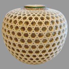 """Japanese Satsuma Beautiful Reticulated 4"""" Vase c 1900"""