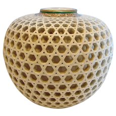 "Japanese Satsuma Beautiful Reticulated 4"" Vase c 1900"