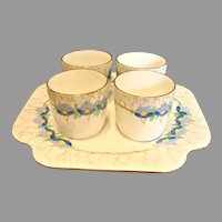 English Porcelain Sherry Cordial Liqueur Set 4 Cups on Tray c 1935