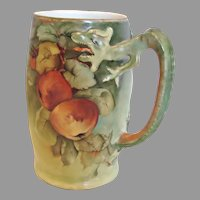 German Bavarian Jaeger & Co Cider Dragon Handle Mug Hand Painted Apples Artist Signed c 1910