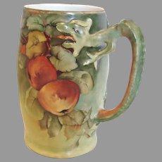 German Bavarian Jaeger & Co Cider Dragon Handle Mug Hand Painted Apples Artist Signed c 1910