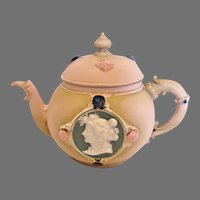 German Jasperware Demitasse Teapot Cameo Faces Pink c 1896