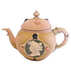 German Jasperware Demitasse Teapot Cameo Faces Pink c 1896