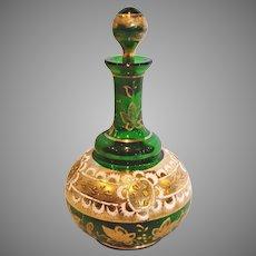 Bohemian Czech Green Art Glass Perfume Bottle w Gold Enamel c 1890