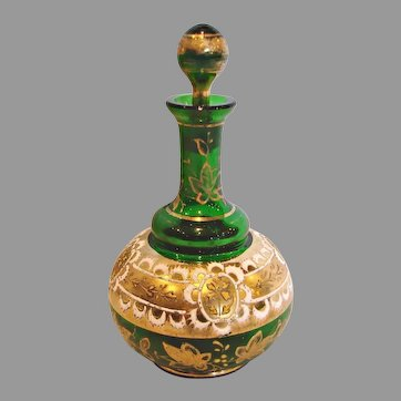 Bohemian Czech Green Art Glass Perfume Bottle w Gold Enamel c 1890