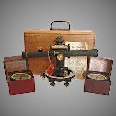 American Land Surveyor Level Instrument 2 Compasses w Wood Box Antique David White c 1900