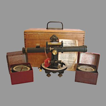 American Land Surveyor Level Instrument 2 Compasses w Wood Box Antique David White c 1900