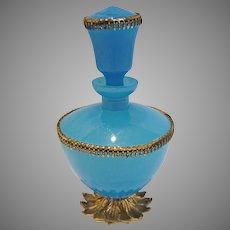 French Vivid Blue Opaline Art Glass Perfume Bottle Gilded Metal Petal Foot Brass Trim c 1850
