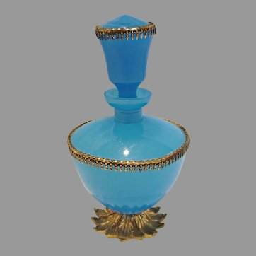 French Vivid Blue Opaline Art Glass Perfume Bottle Gilded Metal Petal Foot Brass Trim c 1850
