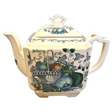 English Staffordshire Mason's Ironstone Family Size Teapot Blue Fruit Basket c 1891-1920