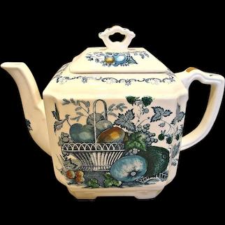 English Staffordshire Mason's Ironstone Family Size Teapot Blue Fruit Basket c 1891-1920