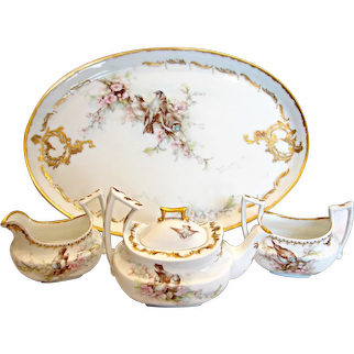 French Limoges Hand Painted Demitasse Solitaire Tea Set Artist Signed Birds Flowers c 1893 - 1907