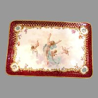 French German Dresden Decorated Haviland Limoges Tray Hand Painted Cherubs Nude Female c 1891 - 1900
