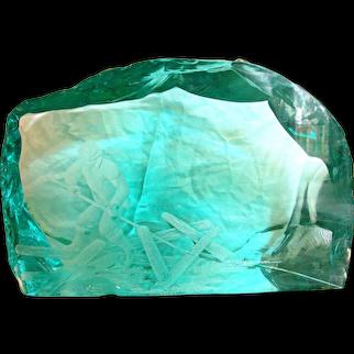 Sweden Large Glacier Aqua Teal Art Glass w Carved Logger Rolling Logs Weighs 21 Lbs Signed Hovmantorp Strand Bornesson c 1970