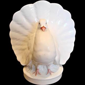 English Minton White Fantail Dove Bird Posy Vase c 1862 - 1871
