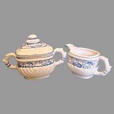 English Pearlware Cream Pitcher & Sugar Hand Painted Blue Under Glaze c 1850