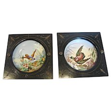 French Hand Painted Birds Framed Bowls L.M. & Cie Creil c 1841 - 1895