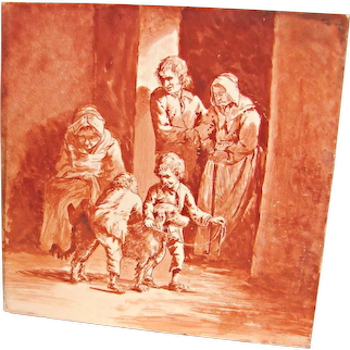 French Red Tile Hand Painted Scene Family w Irish Setter Dog L.M. & Cie Creil c 1841 - 1895
