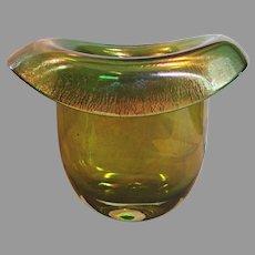"Large Emerald Green Art Glass Hat Vase Iridescent 8.5"" x 10.75"" x 8""  8 Lbs c 1900"