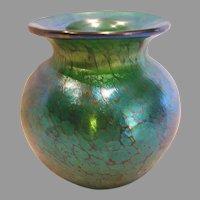 Small Studio Art Glass Vase Green Iridescent Signed c 1993