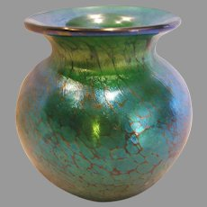 Small Studio Art Glass Vase Green Iridescent Signed c 1993
