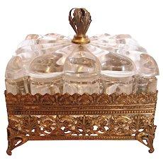 American Heisey Clear Glass Box Apollo Brass Ormolu Marked c 1901 – 1920