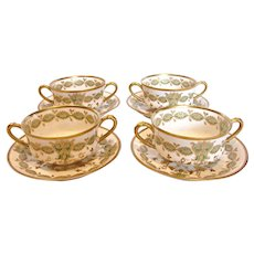 French Haviland Limoges 4 Bouillon Cups Saucers Gold Leaves Over Green c 1894 - 1930