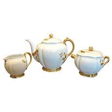 French Haviland Henri II Rare Tea Set Teapot Sugar Creamer Ornate Gold White Limoges c 1888 - 1896