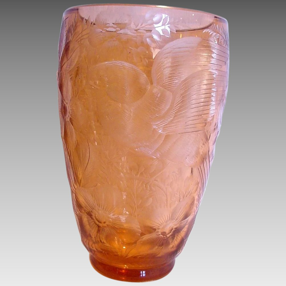 Bohemian moser art nouveau colored crystal glass vase deeply click to expand reviewsmspy