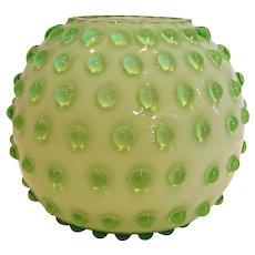 """Bohemian Czech Green Hobnail Art Glass Vase 4"""" Cased Signed Marked c 1930"""