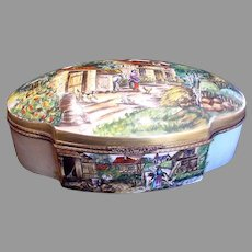"""French Limoges HUGE 16.5"""" Hinged Box Scenic Landscapes Artist Caffy c 1960"""